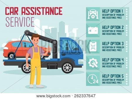 Car Delivery And Assistance Service. Car Transportation Concept. Roadside Assistance And Emergency S