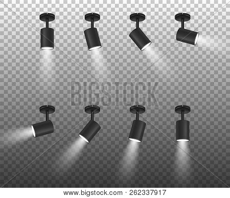 Vector Realistic 3d Black Spotlights Set In Different Slopes Closeup Isolated On Transparent Backgro