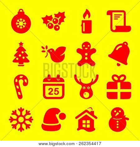 Christmas Icons. Xmas And Winter Vector Illustration. Christmas Celebration Icons In Outline Style.