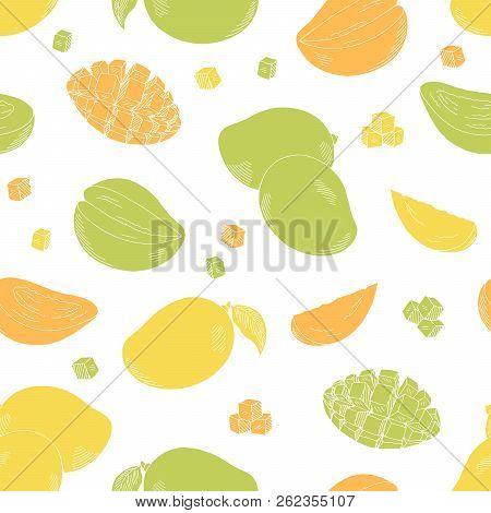 Mango Fruit Graphic Color Seamless Pattern Background Sketch Illustration Vector