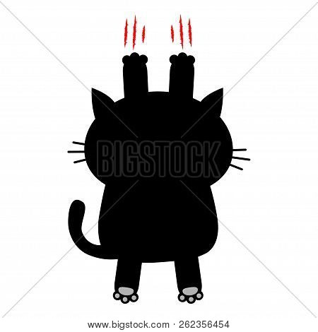 Cartoon Black Cat Scratching. Back View. Red Bloody Claws Animal Scratch Scrape Track. Cute Funny Ch