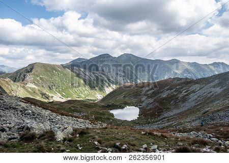 View From Jamnicke Sedlo Mountain Pass In Zapadne Tatry Mountains In Slovakia During Nice Summer Day