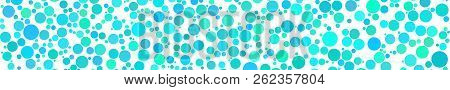 Abstract Horizontal Banner Of Circles Of Different Sizes In Shades Of Light Blue Colors On White Bac