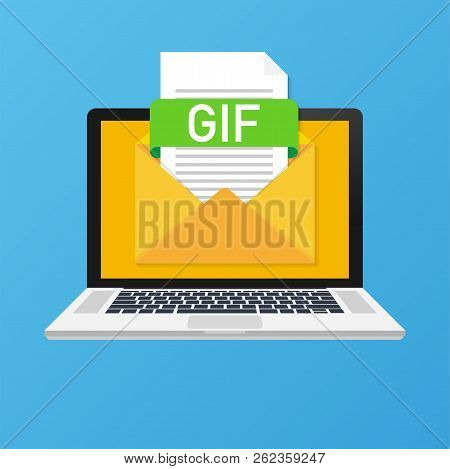 Laptop With Envelope And Gif File. Notebook And Email With File Attachment Gif Document. Vector Stoc