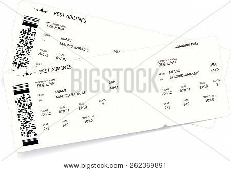 Pattern Of A Boarding Pass And Air Ticket With Barcode. Realistic Ticket Concept For Travel By Airpl