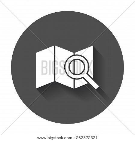 Location Icon. Loupe With Map Flat Vector Icon With Long Shadow.