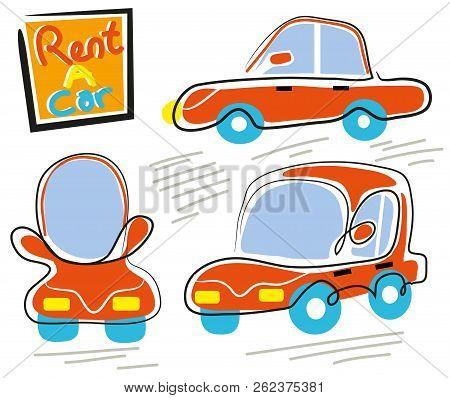 Rent A Car.  Illustration Of Rent A Car.three Diffrent Pose.