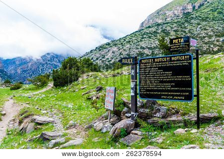 Meta Village, Nepal - July 20, 2018 : Welcome Sign At The Entrance To Meta Village In Annapurna Cons