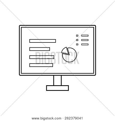 Vector Outline Computer Screen With Data. Vector Outline Computer Monitor With Chart Pie. Computer S