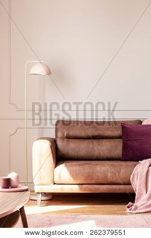 Lamp Next To Leather Couch With Pink Blanket And Cushion In White Apartment Interior. Real Photo