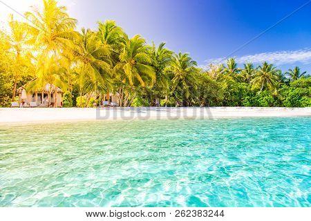 Amazing Summer Vacation And Holiday Background. Maldives Island Landscape, Tranquil Moody Scene