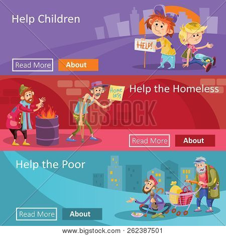 Help To Homeless People Illustration For Social Charity Project Web Banners. Flat Design Of Poverty