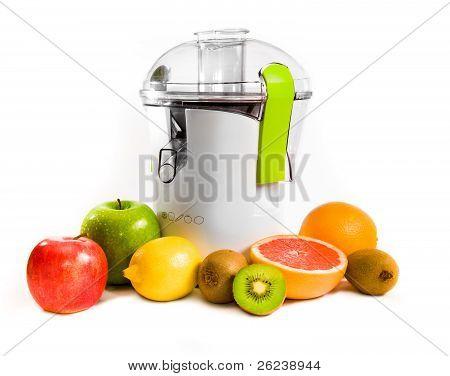 poster of juicing machine over white background. studio shot