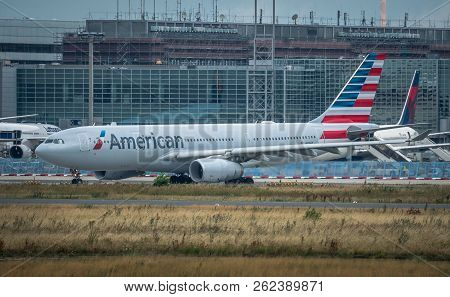 Frankfurt Am Main, Germany - July 21, 2017: Airbus A330 Of American Airlines Just Had Landed And Is