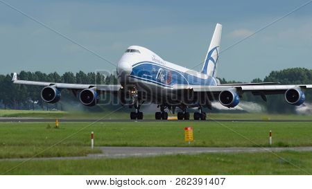 Amsterdam, Netherlands - July 26, 2017: Boeing 747-400erf Jumbojet Of Air Bridge Cargo Airlines Acce