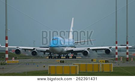 Amsterdam, Netherlands - July 27, 2017: Close-up Of Boeing 747 Of Klm Airlines Is Taxiing On Runway