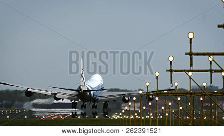 Amsterdam, Netherlands - July 28, 2017: Rear View Of Jumbojet Boeing 747 Of Air Bridge Cago Airlines