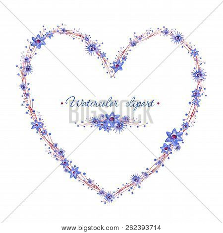 Floral Blue Wreath With Brown Branches Heart Shaped. Cliparts For Wedding Design, Artistic Creation.