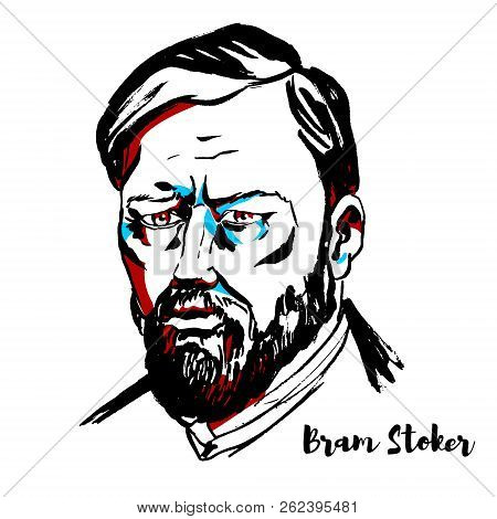 Moscow, Russia - September 26, 2018: Bram Stoker Engraved Vector Portrait With Ink Contours. Irish A