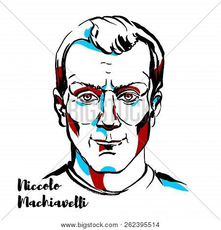 Niccolo Machiavelli Engraved Vector Portrait With Ink Contours. Italian Diplomat, Politician, Histor
