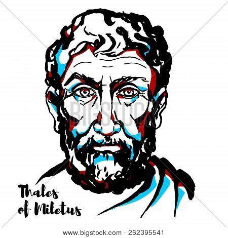 Thales Of Miletus Engraved Vector Portrait With Ink Contours. Pre-socratic Greek Philosopher, Mathem
