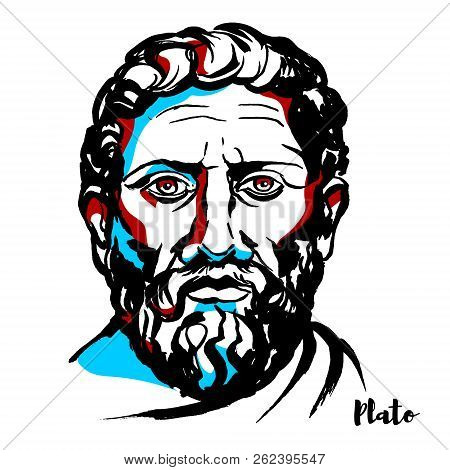 Plato Engraved Vector Portrait With Ink Contours. Philosopher In Classical Greece And The Founder Of