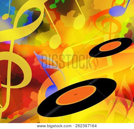 Music Playing Background With Dancing Musical Notes And Vinyl Discs