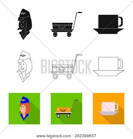 Vector Illustration Of Airport And Airplane Icon. Collection Of Airport And Plane Stock Vector Illus