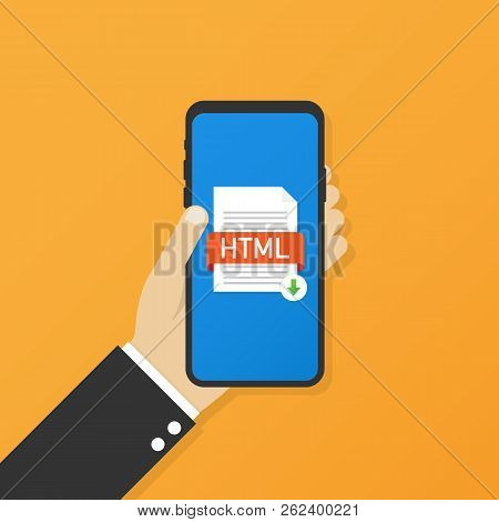 Download Html Button On Smartphone Screen. Downloading Document Concept. File With Html Label And Do