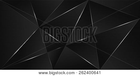 Black Premium Background With Luxury Dark Polygonal Pattern And Silver Triangle Lines. Low Poly Grad