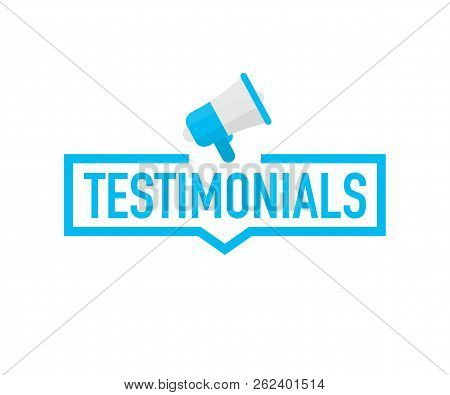 Hand Holding Megaphone - Testimonials. Vector Stock Illustration.