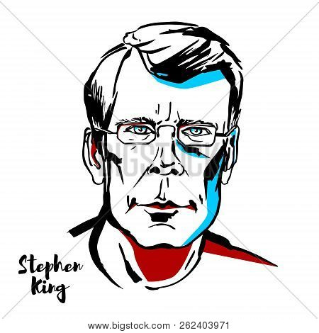 Moscow, Russia - August 21, 2018: Stephen King Engraved Vector Portrait With Ink Contours. American