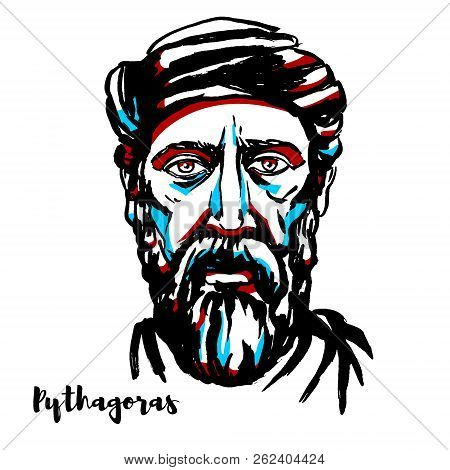 Pythagoras Engraved Vector Portrait With Ink Contours. Ionian Greek Philosopher And The Eponymous Fo