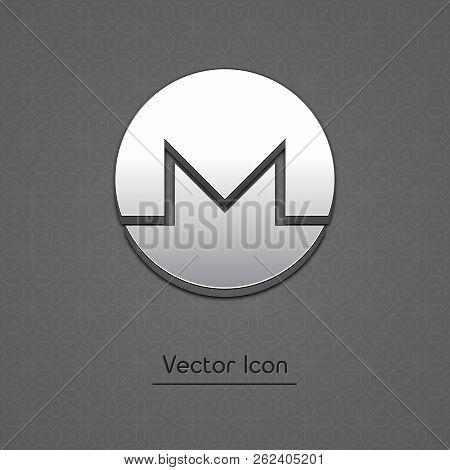 Monero Coin Symbol Isolated Web Vector Icon. Monero Coin Trendy 3d Style Vector Icon. Raised Symbol