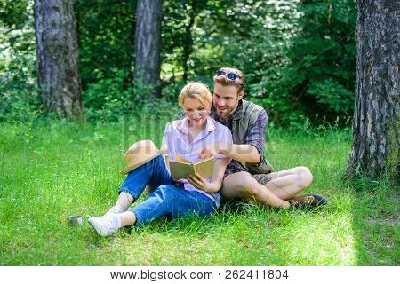 Couple In Love Spend Leisure Reading Book. Couple Soulmates At Romantic Date. Romantic Couple Studen