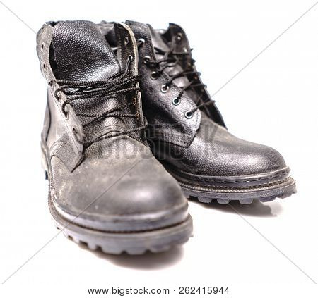 Black Safety Shoe on White Background, Safety Shoes for Workers Wearing a Personal Protective Equipment, PPE Industrial Boot, Worker Safety Boots,  Wear PPE, Worker Safety, Protective Accessories