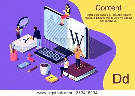 Isometric Concept Creative Writing Or Blogging, Education And Content Management For Web Page, Banne