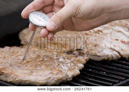 Checking steak