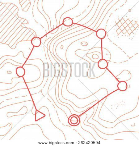 Vector Illustration Of Topographic Orienteering Map With With Distance Marked On It. Topo Symbols An