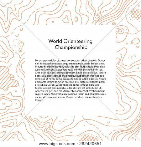Vector Illustration Of Orienteering Map With Text Place.  Topo Symbols And Landmark Objects. Orienta