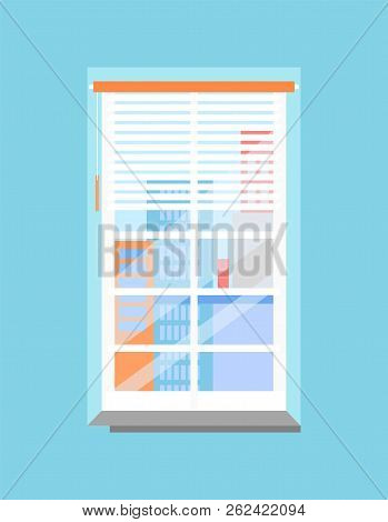 Plastic Window With Jalousie And Skyscrapers View. Office Wall That Has Windowsill, Grilled Frame, P