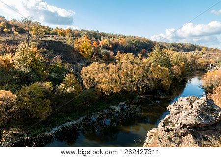 Terrific View Of The River Canyon On A Sunny Fall Dayterrific View Of The River Canyon On A Cloudy F
