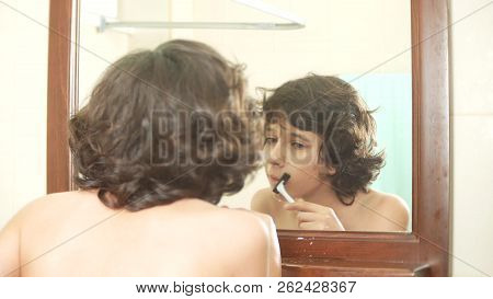 Teenager Shaves First Time, Teenage Boy Applying Shaving Foam, Skincare, Cream, Face