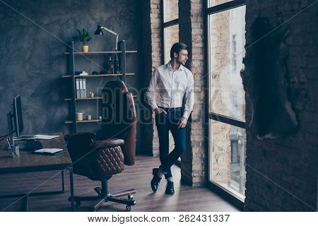 Full Legs Body Size Portrait Of Lifestyle Minded Thoughtful Well-dressed Good-looking Attractive Han