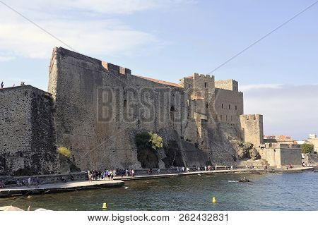 Collioure, France - September 5, 2018: Collioure And Its Royal Castle By The Sea Giving A Fortified