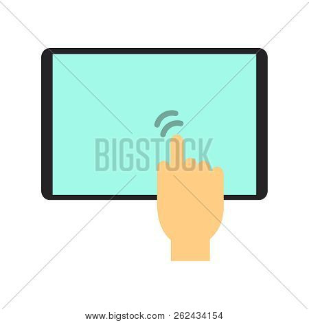 Vector Hand Touching Tablet. Hand Touching Tablet Icon. Finger Touching Tablet Screen.