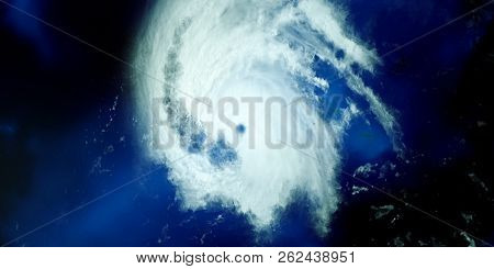 Extremely Detailed And Realistic High Resolution 3D Illustration Of A Hurricane. Shot From Space. El