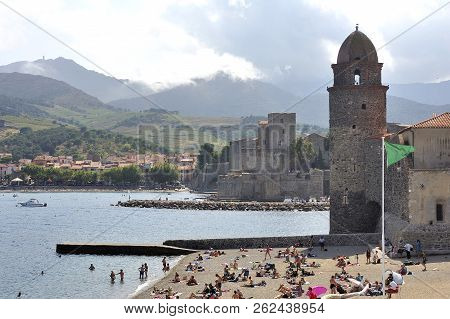 Collioure, France - September 5, 2018: Collioure Beach At The Foot Of The Saint-vincent Chapel With
