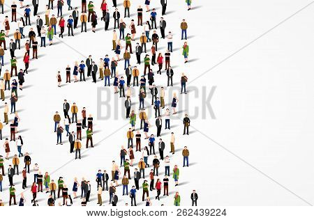 Large Group Of People In Number 6 Six Form. Vector Background