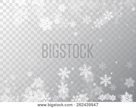 Winter Snowflakes Border Trendy Vector Background.  Macro Snowflakes Flying Border Illustration, Car